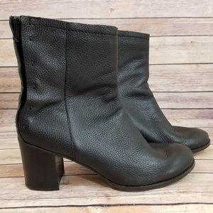 Seychelles 10 Black Leather Chunky Heel Boot